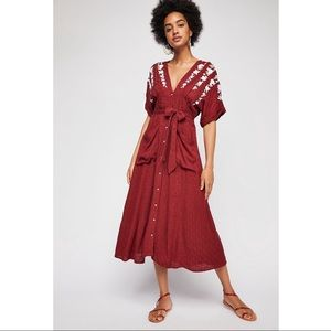 Free Love To Love You Embroidered Midi Dress